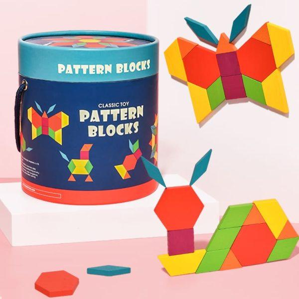Mideer Wooden Pattern Blocks - Montessori Toy for Kids - 250 pcs