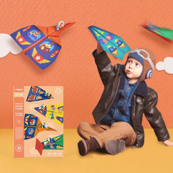 Origami Paper Airplanes Kit with Pilot Stickers - 36 pcs